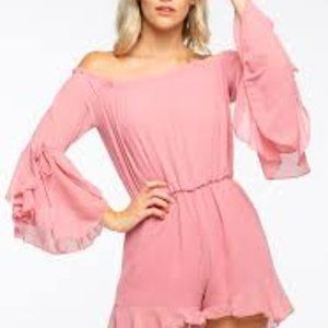 Papaya Solid Off The Shoulder Romper Size Small